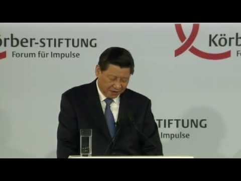 Der chinesische Staatspräsident Xi Jinping redet in Berlin
