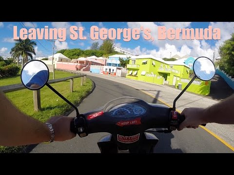 Leaving St. George's, Bermuda on a Moped