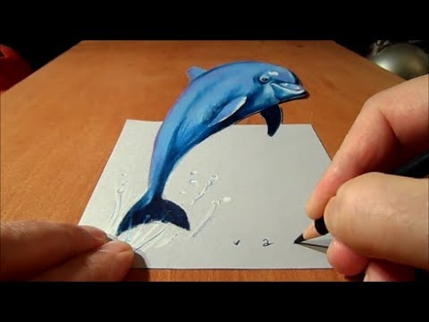 Drawing dolphin in 3d artistic graphic