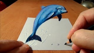 Drawing a 3D Dolphin, Anamorphic Illusion, Time Lapse
