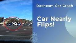 Dashcam car crash of white van slamming into SUV at red light in Paradise Valley, AZ