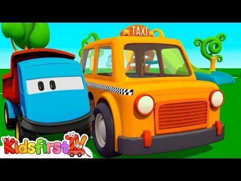 Kid's 3d Construction Cartoons: LEO the Truck's TAXI CAB - SURPRISE EGG Unboxing! Hide & Seek