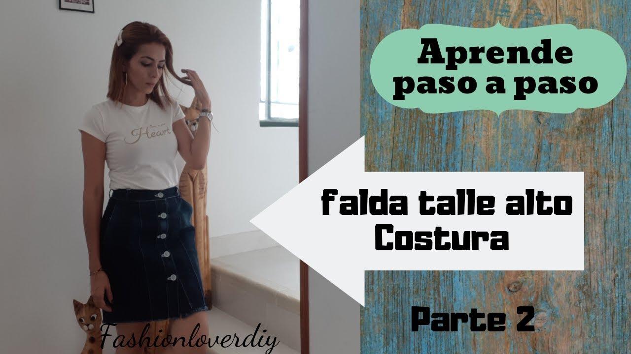 c60a4568c DIY costura: Como Hacer Falda de Jean Talle Alto Con Botones