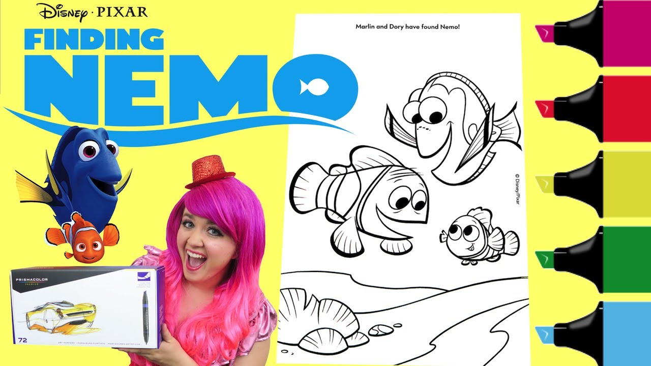 Coloring Finding Nemo Dory Coloring Book Page Colored Markers ...