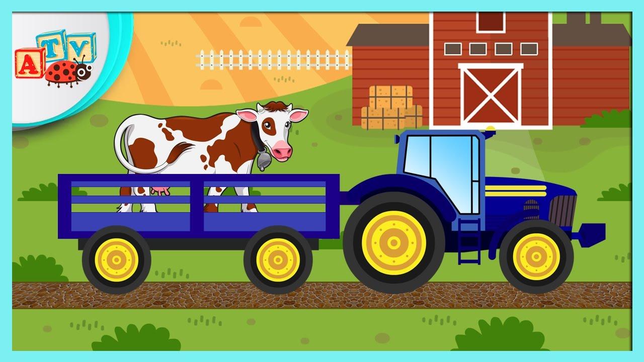 Animalele Domestice Tractorul la Ferma cu Animale Domestice. Desene Animate Educative