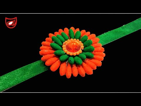 DIY Rakhi with Cotton buds and Paper Cup   Homemade Rakhi making Idea