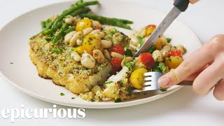 Herb-Crusted Cauliflower Steaks with Beans and Tomatoes | Epicurious
