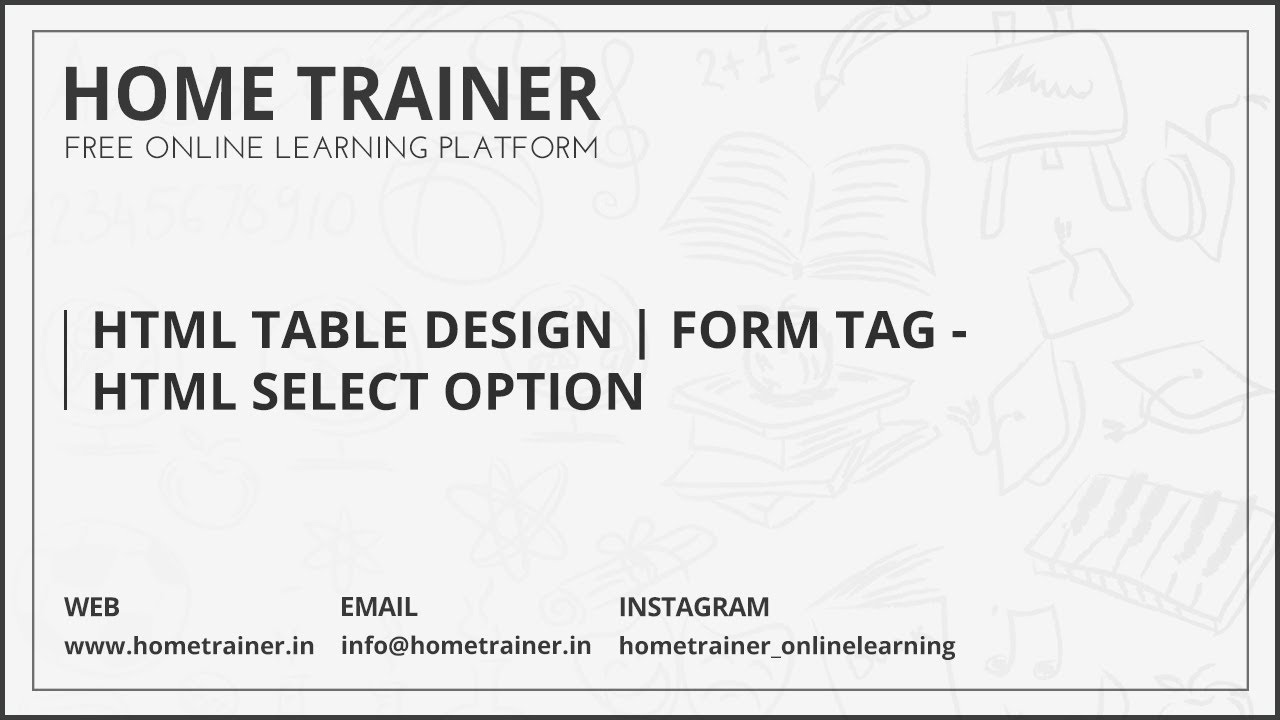 HTML Table Design Form Tag HTML Select Option YouTube - Email html table template