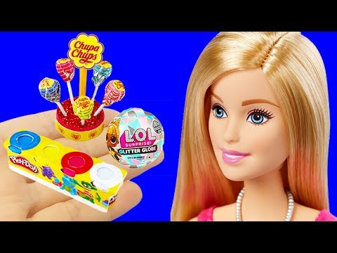 12 DIY Barbie Hacks Miniature LOL Surprise Winter Disco, Play Doh, Chupa Chups, More Barbie Crafts