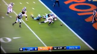 First touchdown of Super Bowl 50 Cam Newton gets hit and fumbles!!