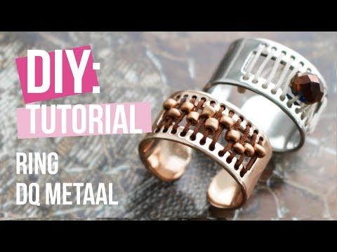Sieraden maken: Ring van DQ metaal met macramé draad ♡ DIY