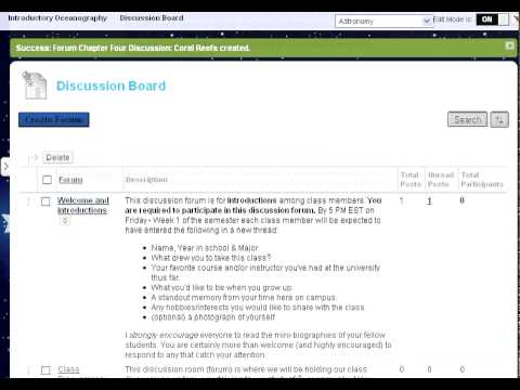 CourseSites Tutorial 8: Creating a Discussion Board Forum