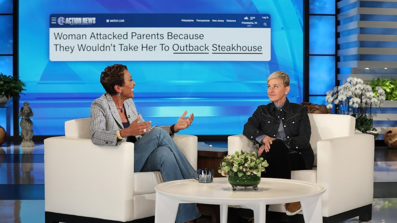 'GMA' Host Robin Roberts Plays 'Blanking News' with Ellen and tWitch