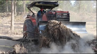 Power Tractor Pushing Dirt Skills | Tractor Pushing Over Trees ត្រាក់ទ័ររុញដីនិងព្រៃ