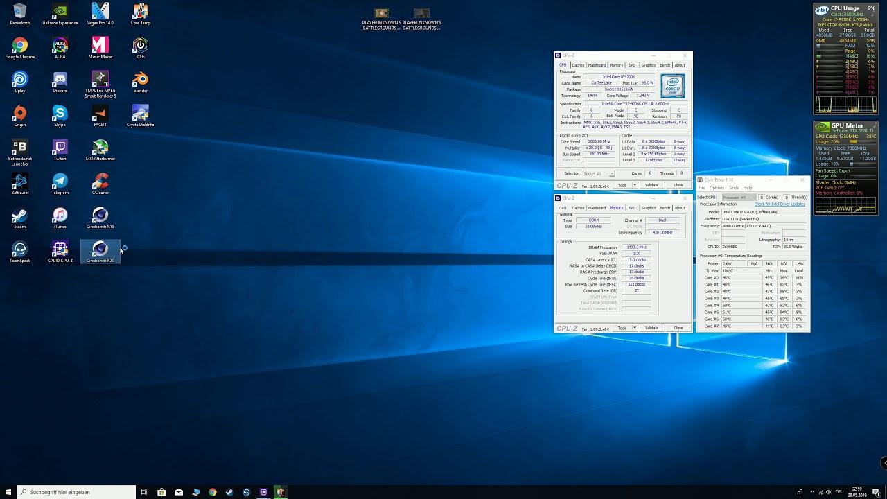 i7 9700K 5 0ghz Cinebench R15 / R20 and ryzen blender test