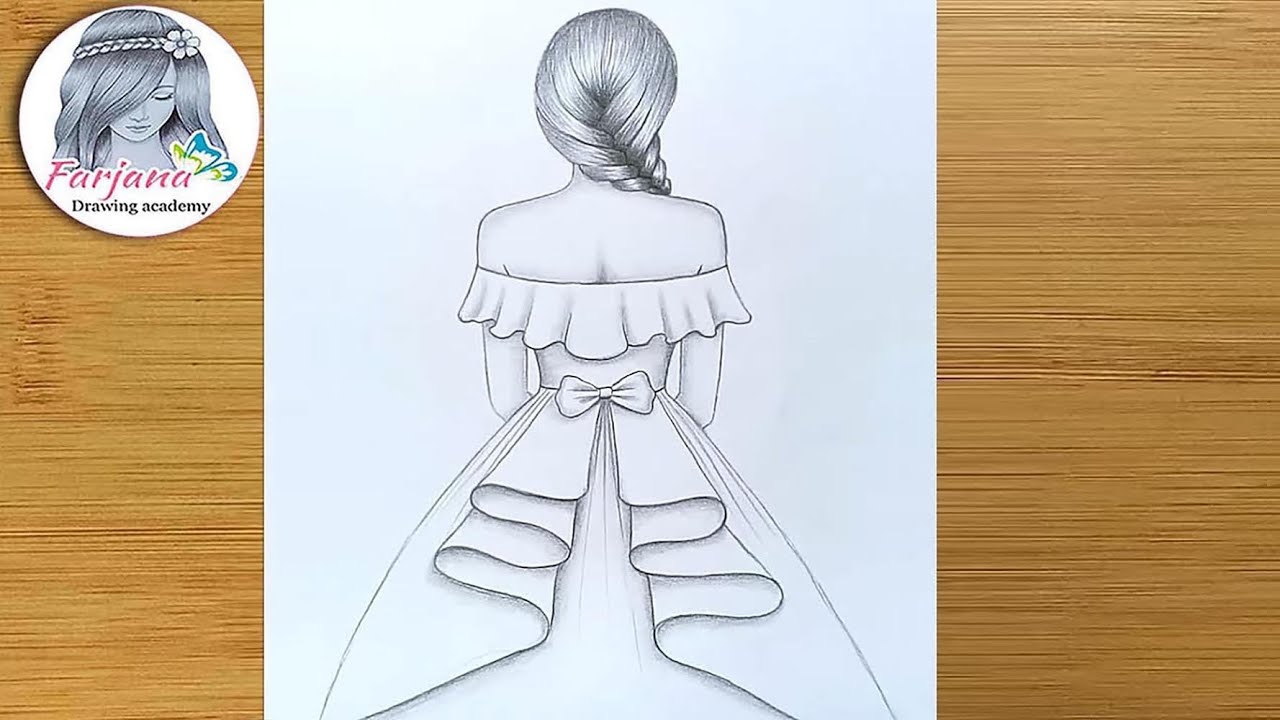 How To Draw A Girl With Beautiful Dress Step By Step Girl Drawing Art Video Youtube