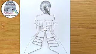 girl Wearing Party Dress Pencil Sketch Drawing    Step By Step Tutorial