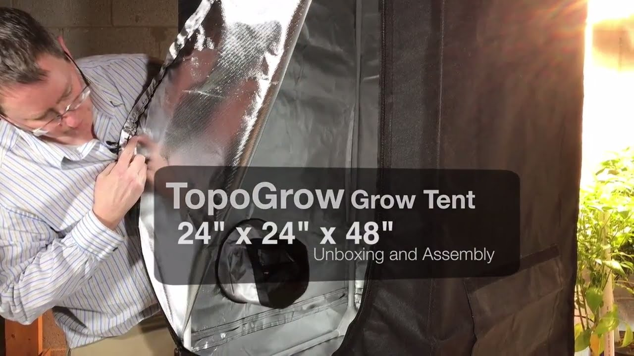 TopoGrow Grow Tent - 24 x24 x48  Unboxing and Assembly : 48 x 48 grow tent - memphite.com