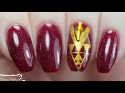 NailArt | Red and Gold Stamped Nails ft Nvr Enuff Unicorn Scars