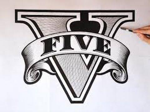 How To Draw Gta V Logo Hd Youtube