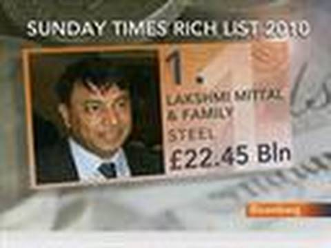 U.K.s Richest Increase Wealth by 30%, Mittal Tops List