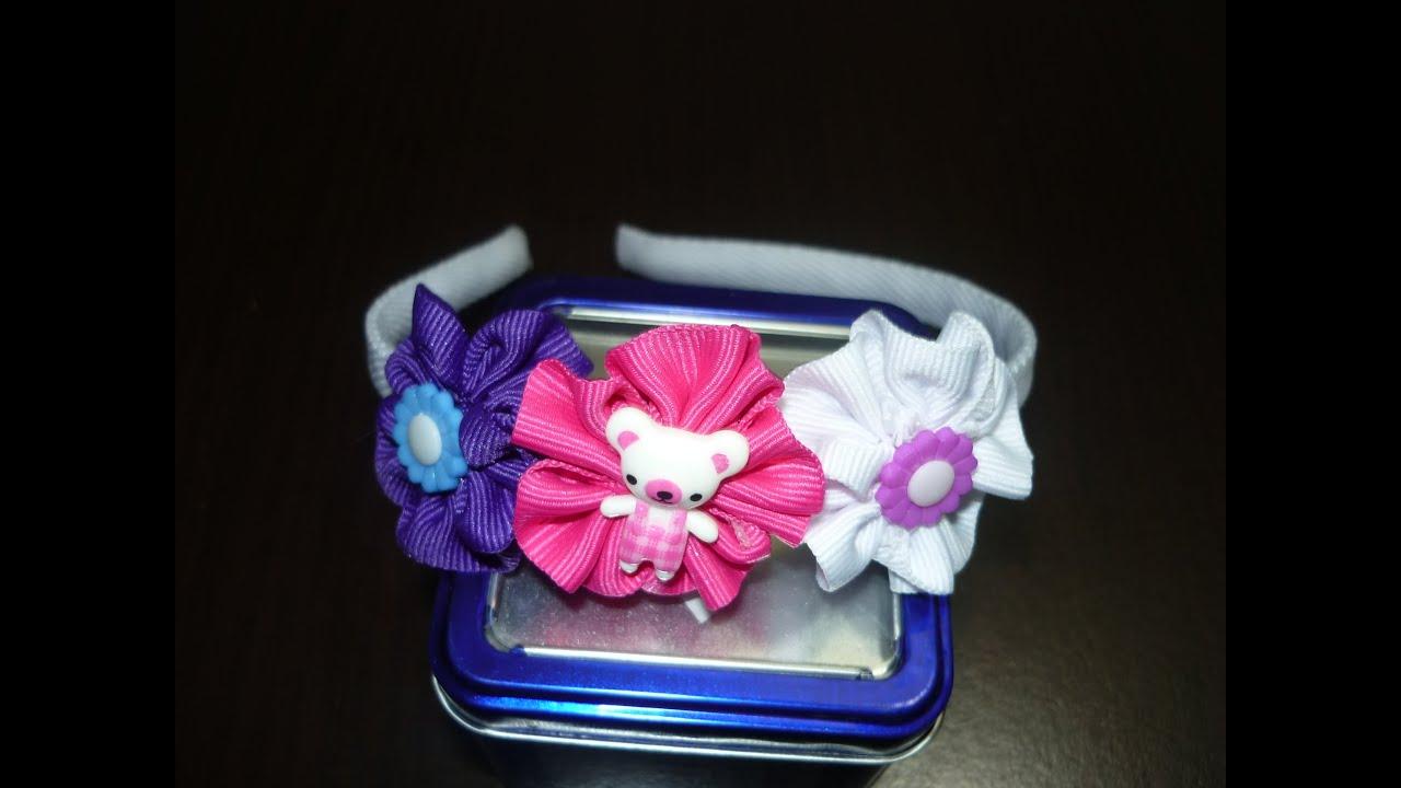Lindas flores de cinta para decorar diademas cute ribbon - Manualidades con lazos ...
