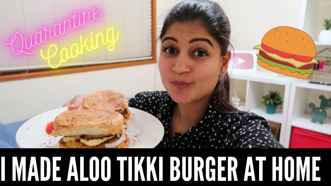 QUARANTINE COOK WITH ME: I MADE ALOO TIKKI BURGER AT HOME! 🍔|| RIDHIMAA MOHINI