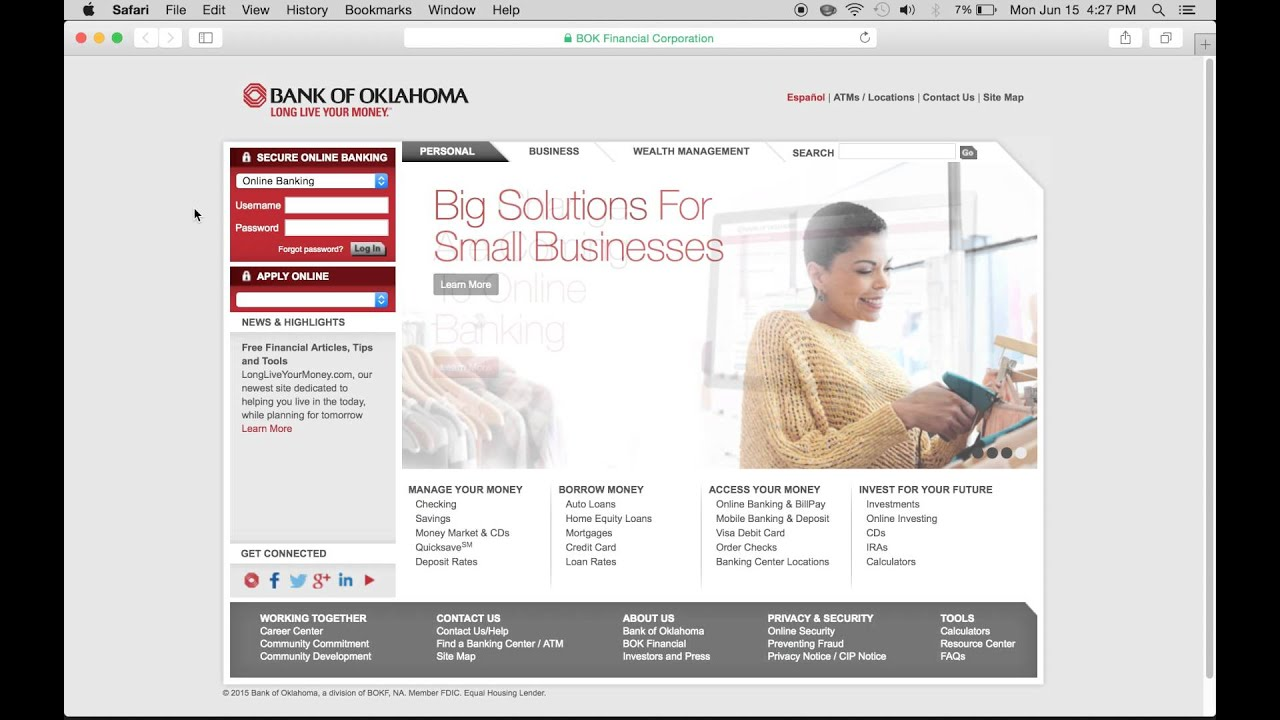 Bank of Oklahoma Online Banking Login | Enroll - YouTube