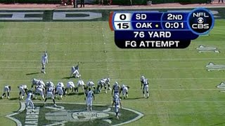 Sebastian Janikowski's 76 Yard Field Goal Attempt (HD) - 2008 Week 4