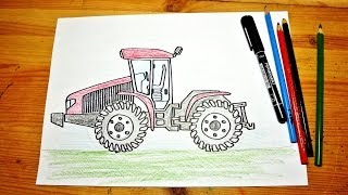 How to draw an articulated tractor (for kids)