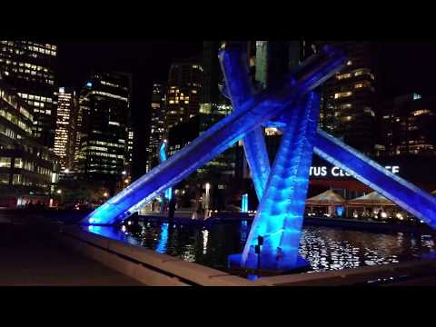 Vancouver ATTRACTIONS: 2010 WINTER OLYMPICS CAULDRON, Canada Place (Night) - 4K