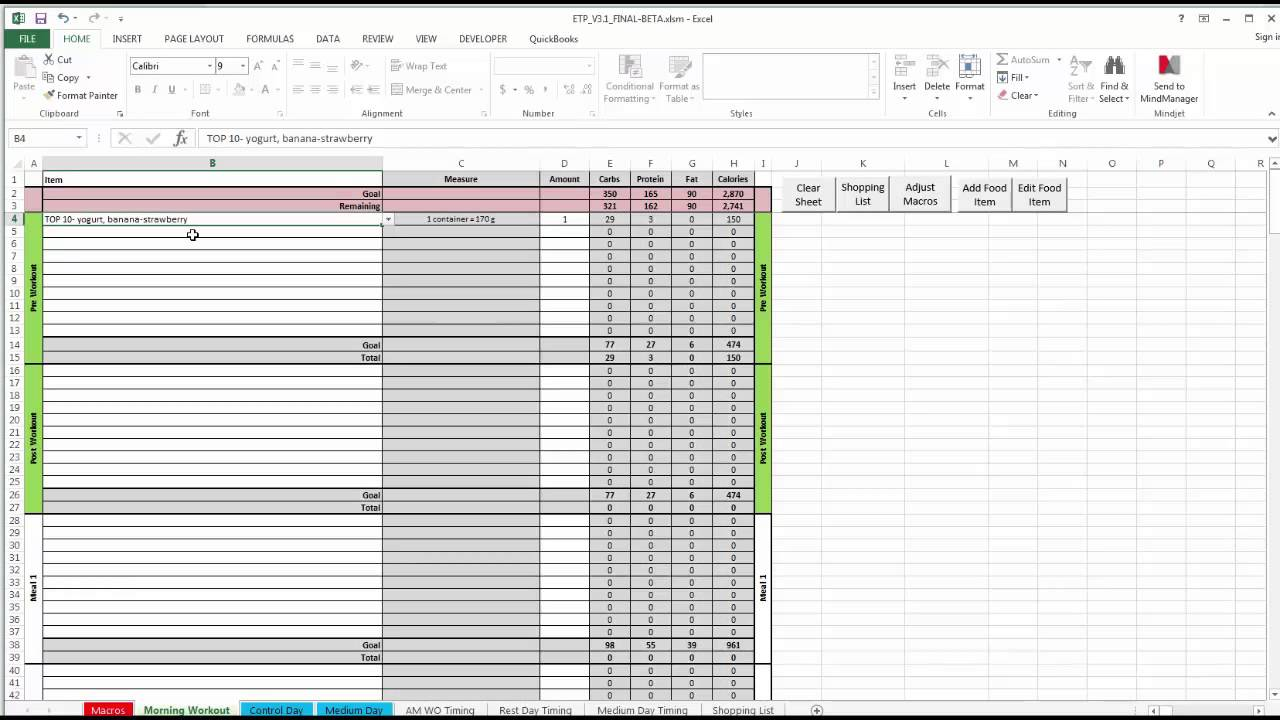 ETP Meal Planning Spreadsheet V3.0 - YouTube