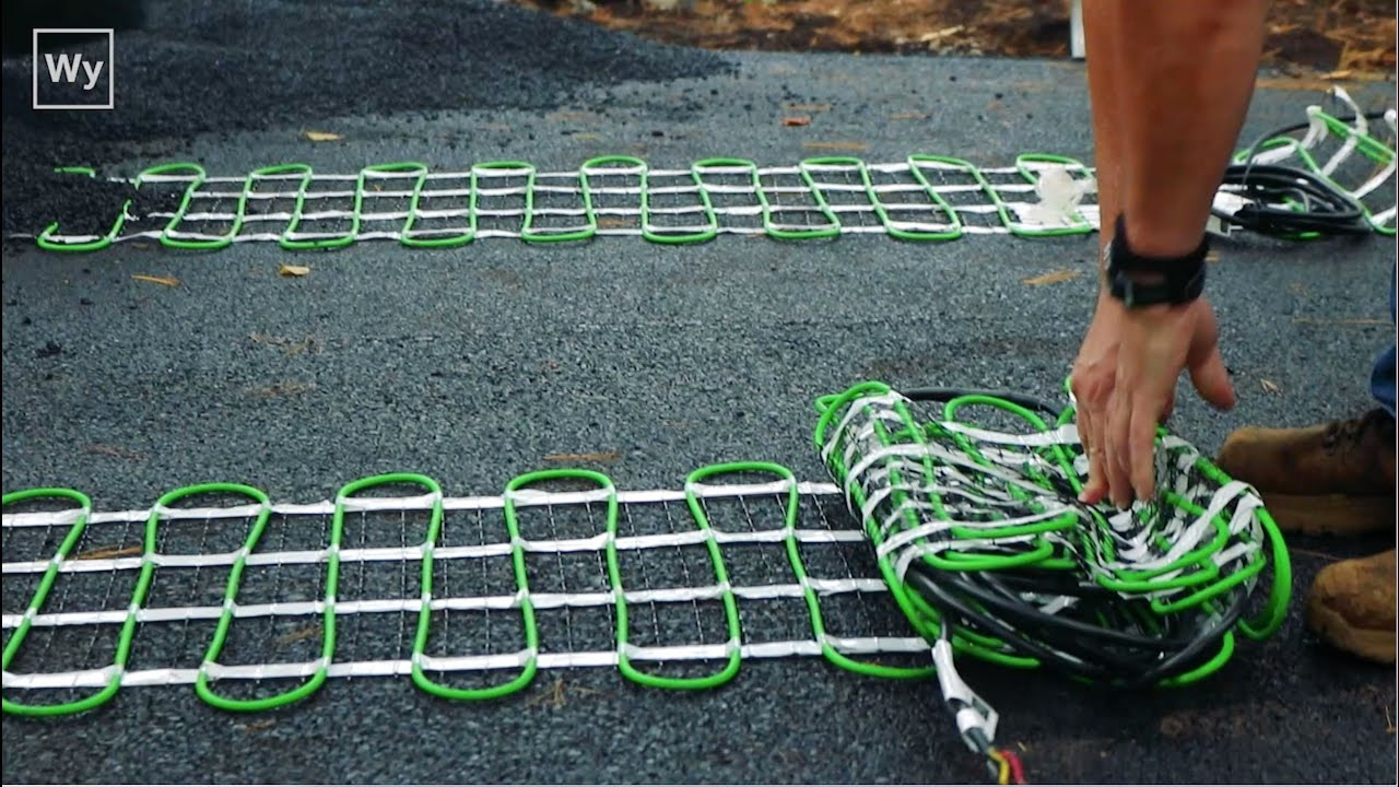 Electric Snow Melting System Installed In An Asphalt