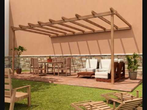 Pergolas de madera youtube for Carros de madera para jardin