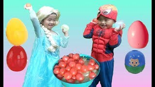 Spiderman and Elsa Surprise Egg Hunt and Water Balloon Fight