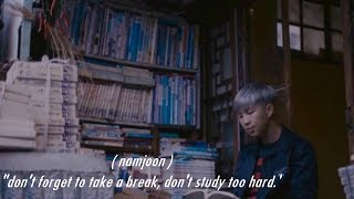 [BTS ASMR AMBIANCE] | Library studying with Namjoon [whispers, reading & writing sounds + fake subs]