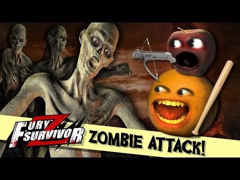 ZOMBIE ATTACK!!!   Annoying Orange and Midget Apple play Fury Survivor Z! #sponsored