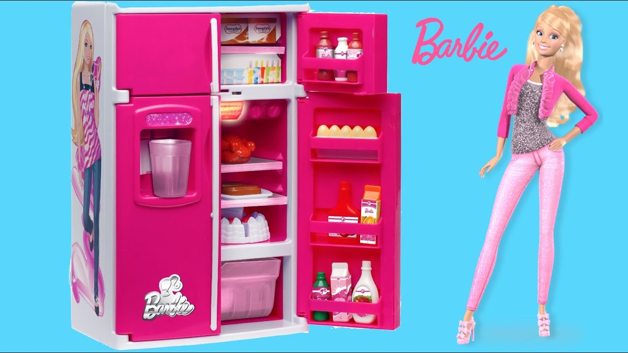 barbie fun food magic fridge with barbie glam vacationa house thechildhoodlife youtube. Black Bedroom Furniture Sets. Home Design Ideas