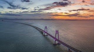 Preview of the world's longest cross-sea bridge