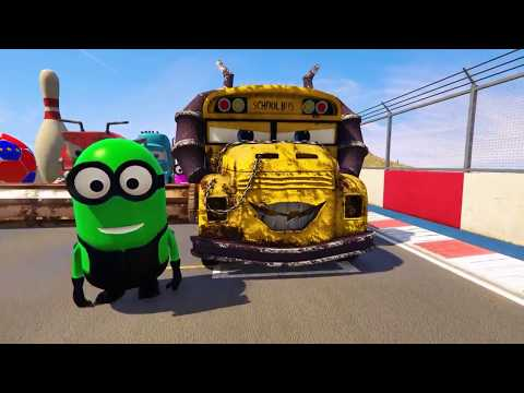 Color Disney cars and MINIONS Thomas the train and Mack Truck Nursery Rhymes