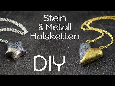 Metall & Stein Ketten | FIMO®³ DIY | Schmuck Anleitung | Granit Gold Silber Halsketten selbermachen
