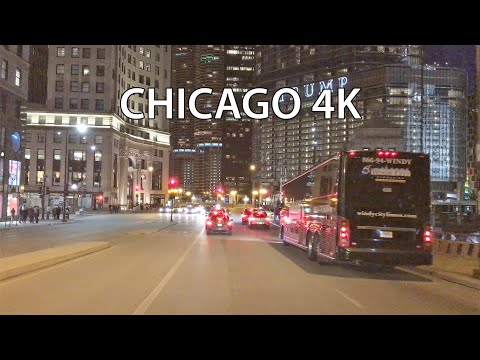 Chicago 4K - Night Drive - Driving Downtown