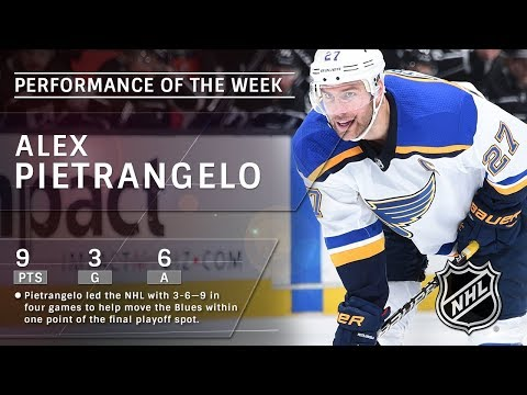 Alex Pietrangelo records NHL-leading nine points in four games to pace Blues