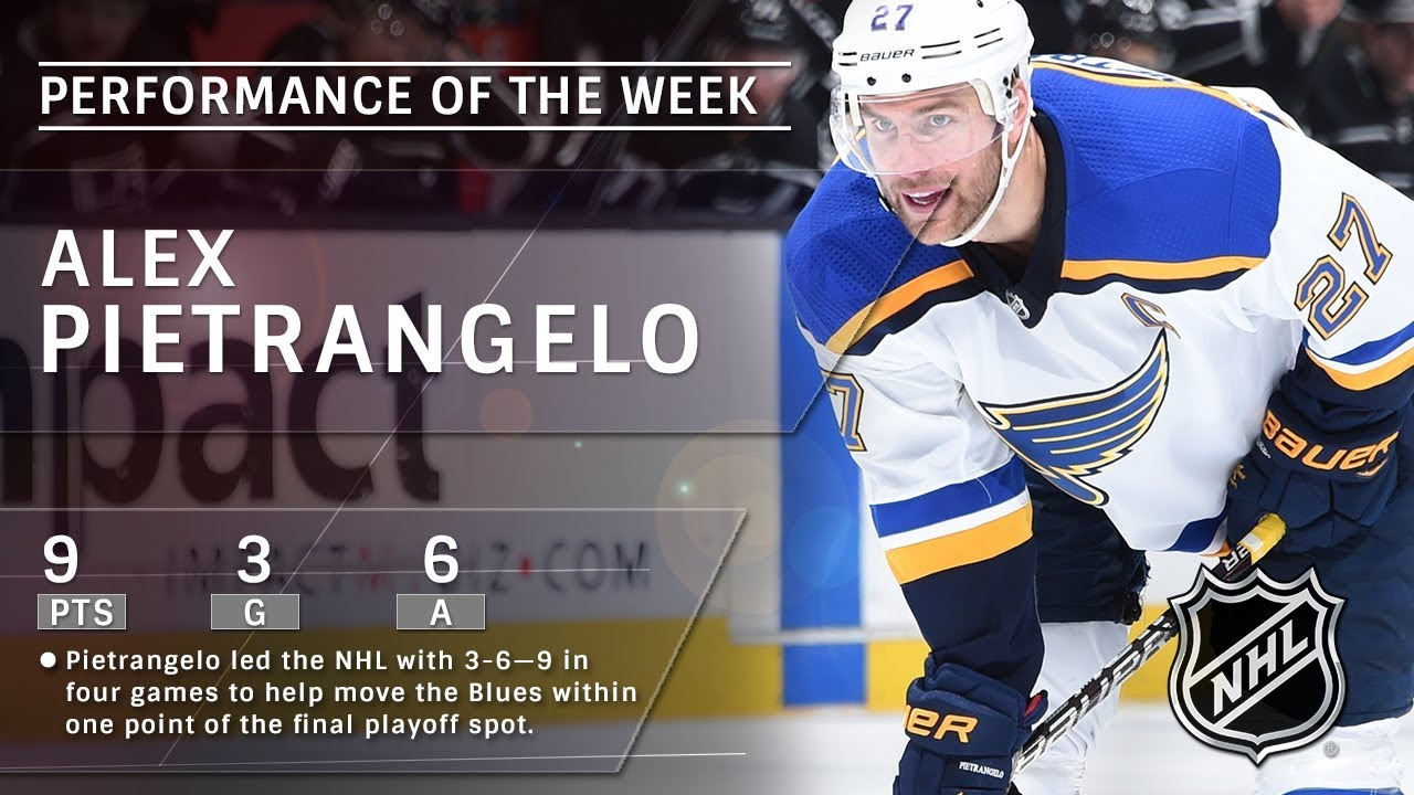 Alex Pietrangelo Records Nhl Leading Nine Points In Four Games To Pace Blues Youtube