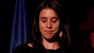 La ministra Irene Montero rompe a llorar en una entrega de premios