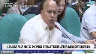 Sen. Dela Rosa heated exchanged with a student leader over Senate hearing
