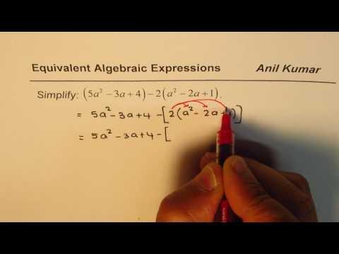 Simplify Algebraic Expression (5a^2 - 3a + 4) - 2(a^2 - 2a + 1)