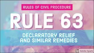 Rule 63; Declaratory Relief and Similar Remedies; CIVIL PROCEDURE [AUDIO CODAL]