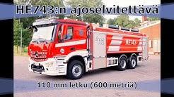 Palokunta. Laajasalon VPK:n säiliöauto HE743. Ajoselvitettävä 110 mm letku, pituus 600 metriä.