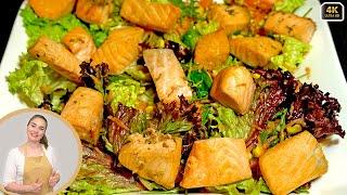 САЛАТ С СЕМГОЙ | Вкуснейший салат с рыбой! Запеченная Семга с зеленью